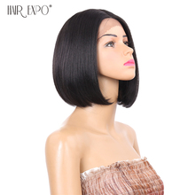 8inch Short Straight Bob Wigs Synthetic Lace Front Wig Heat Resistant Fiber Black Hair Middle Part Lace Wig Hair Expo City цена
