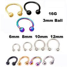 2 Piece Free Shipping Stainless Steel Nostril Nose Ring Circular piercing ball Horseshoe Rings CBR ring BCR earring(China)