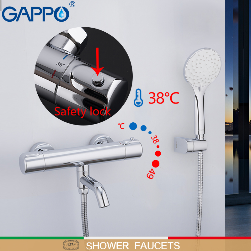 GAPPO Bathtub Faucet thermostatic mixer for bathtub bathroom brass and chrome thermostatic tap wall mounted faucet bath mixer yanksmart wall mounted thermostatic faucet double handles faucet spout filler diverter chrome bathtub shower faucet valve mixer
