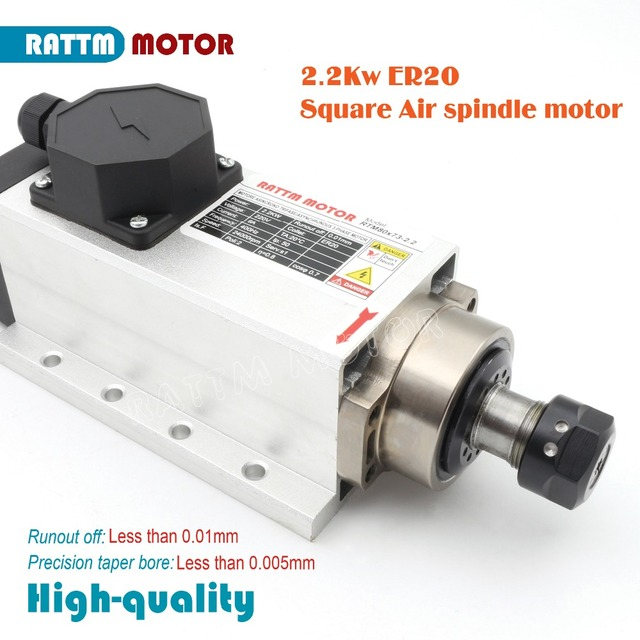 From AUS free TAX Square 2.2kw Air cooled spindle motor ER20 runoutoff 0.01mm,220V,4 Ceramic bearing,CNC Engraving milling grind
