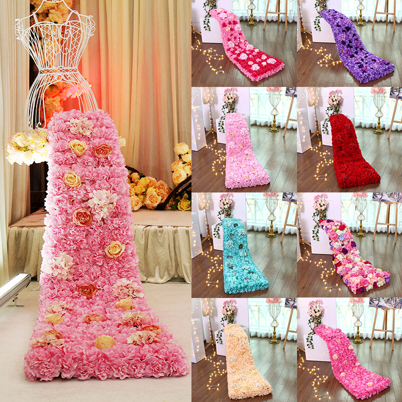 Artificial silk flower wall rose artificial flower head hydrangea flower row wall stage background home wedding party decoration