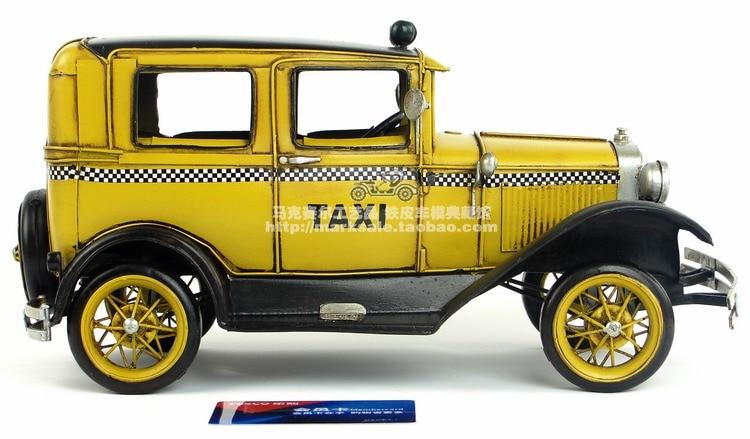 Antique classique taxi voiture modèle rétro vintage en métal forgé artisanat pour la maison/bar/café décoration ou cadeau d'anniversaire-in Figurines et miniatures from Maison & Animalerie    2