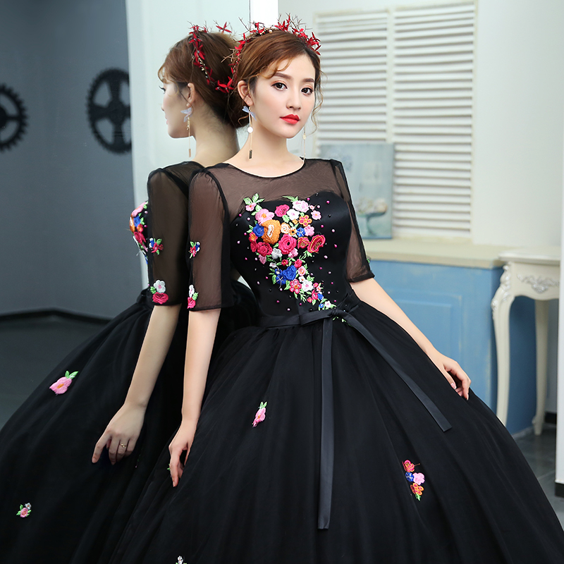 ruthshen Black Prom Dresses 2018 New Cheap Ball Gown Half Sleeves  Embroidery Floral Formal Evening Gowns For Womens Real Photo-in Prom Dresses  from Weddings ... 6a04c44c41dd