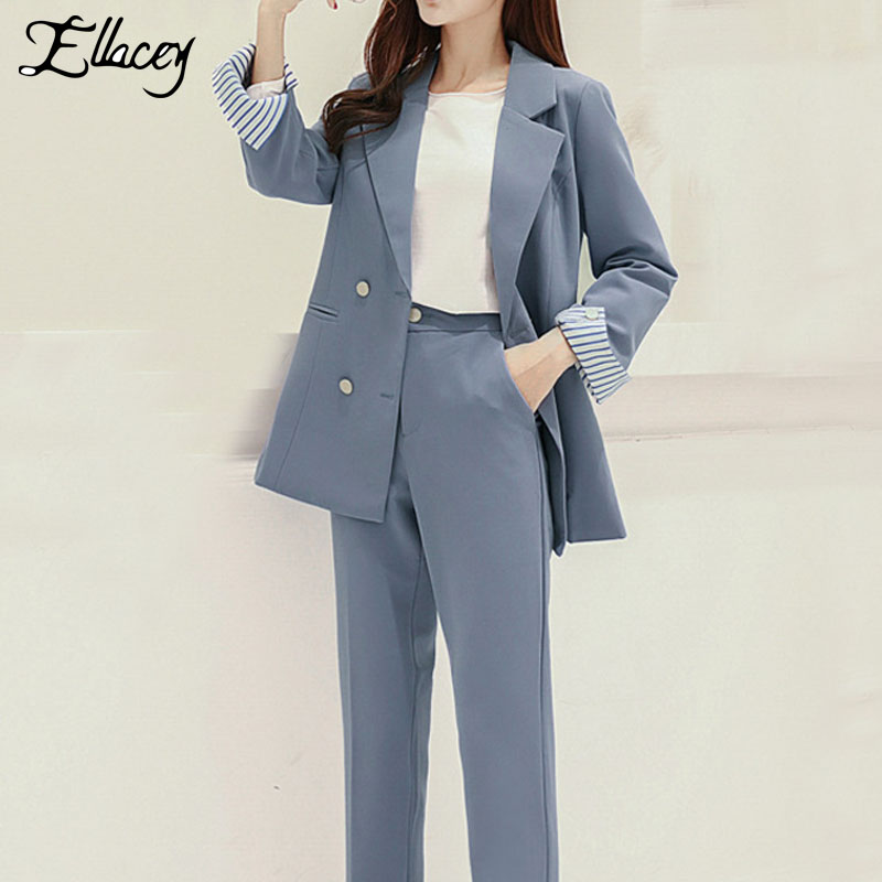 Ellacey Striped Woman Suits Pink Blue Lady Office Pant Suits For Women Blazer Business Suits Formal Office Work 2 Pieces Set