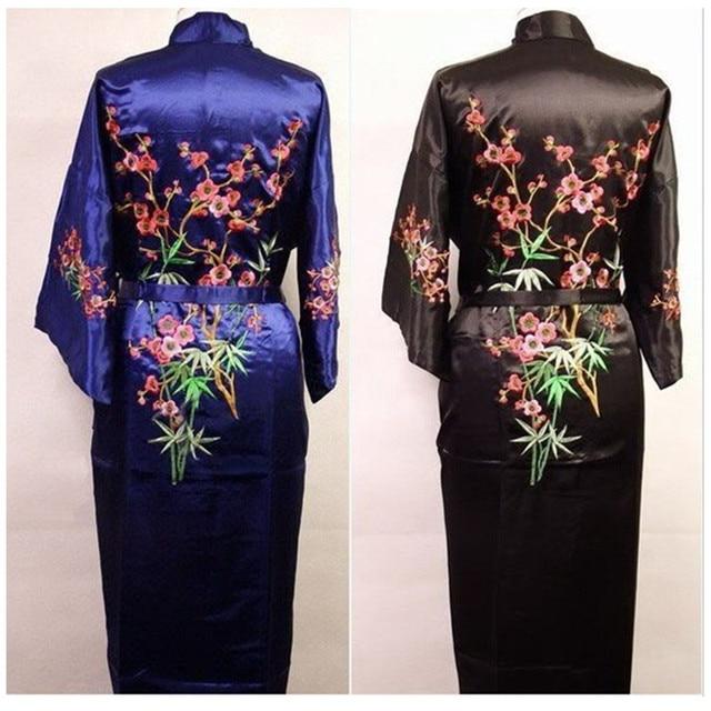 O Envio gratuito de homens Chineses de Cetim de Seda Bordado Robe Kimono Bath Vestido Flor Tamanho S M L XL XXL XXXL M4S001