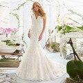 2016 New Arrival Vestidos De Novia tubo de boob top Frete Grátis Vestidos de Noiva V-neck Lace Apliques de Contas Vestidos de Casamento Personalizado