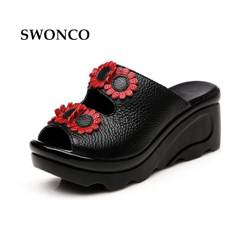 SWONCO Women's Slippers Shoe High Heel 7cm Genuine Leather Retro Women Slides Woman Shoes High Heel For Summer 2018 Shoe