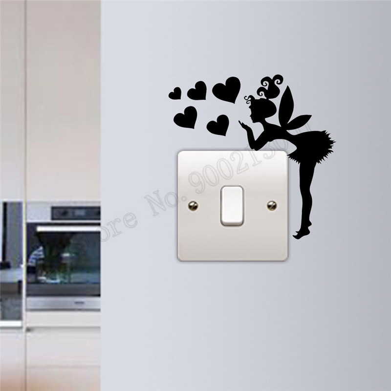 76b1239775e Detail Feedback Questions about Light Switch Home Decoration Vinyl Art  Removeable Poster Beauty Fairy With Heart Decor Modern Ornament Mural LY898  on ...