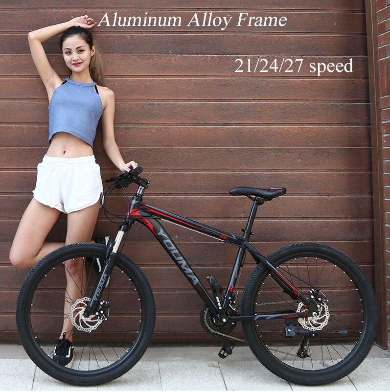 You Ma 26 inch 21/24/27 speed Aluminum Alloy Frame Mountain Bike double disc brakes student bicicleta bicycle free shipping you ma 26 inch 21 24 27 speed aluminum alloy frame mountain bike double disc brakes student bicicleta bicycle free shipping