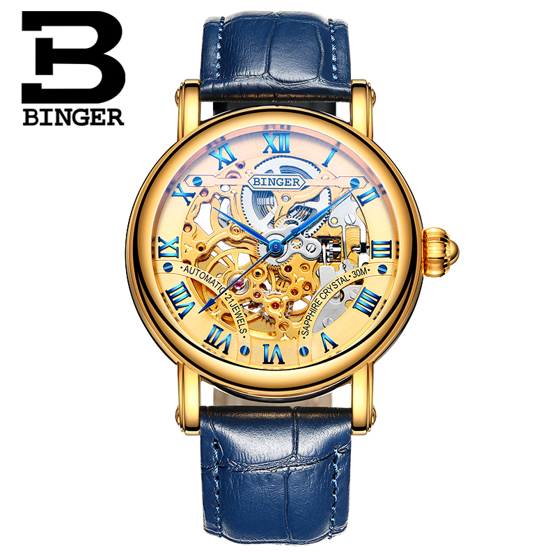 Luxury 24 Jewels Gold Movement Automatic Watches Lovers Vintage Roman Business Wrist Watch Saphir Skeleton Couples Watch Hollow