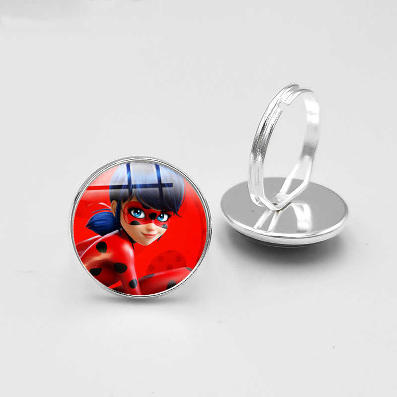 Fashion Ladybug Girl Round Glass Silver Plated Ring cute Ladybug Women Child Gifts Cartoon Alloy Ring Jewelry Konminry