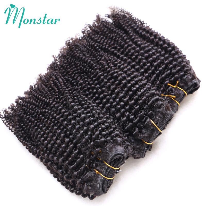 Monstar Hair Products 5 Piece Afro Kinky Curly Hair Weave 4B 4C 100% Afro Kinky Human Hair Bundles Short Virgin Hair Extensions