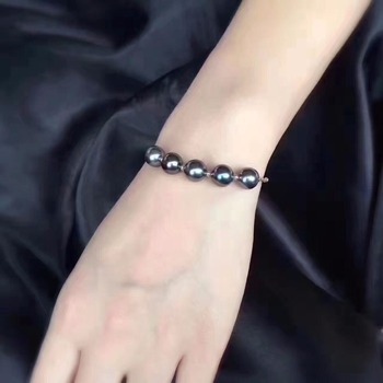 Sinya Natural tahitian pearls 18k gold bracelet for women girl Mom girl lover length 16+2cm can adjustable pearl diameter 8-9cm 2