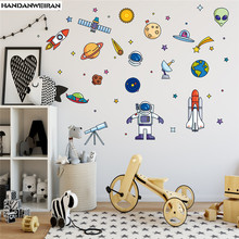 1PCS Cartoon Space Spaceship Wall Sticker For Childrens Room  Living Decoration 25*70CM DROP SHIPPING