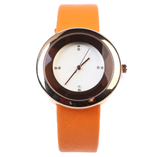 Moda Simple Reloj de Las Mujeres Colores Del Caramelo de Cuero De Cristal De Cuarzo de Acero Inoxidable Relojes Relogio Feminino 138