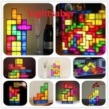 DIY Tetris Puzzle Light Stackable LED Desk Lamp Constructible Block LED Light Toy Retro Game Tower Block Baby NightLight