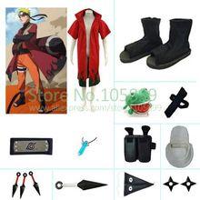 Uzumaki Naruto мудрец красный Тренчи длинное пальто Косплэй костюм комплект Фром Наруто