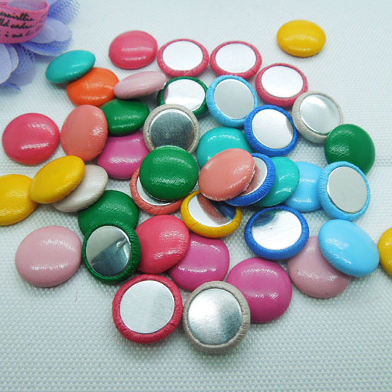 100pcs Random colors 15mm Round buttons imitation leather covered buttons flat back for jewelry accessories free shipping
