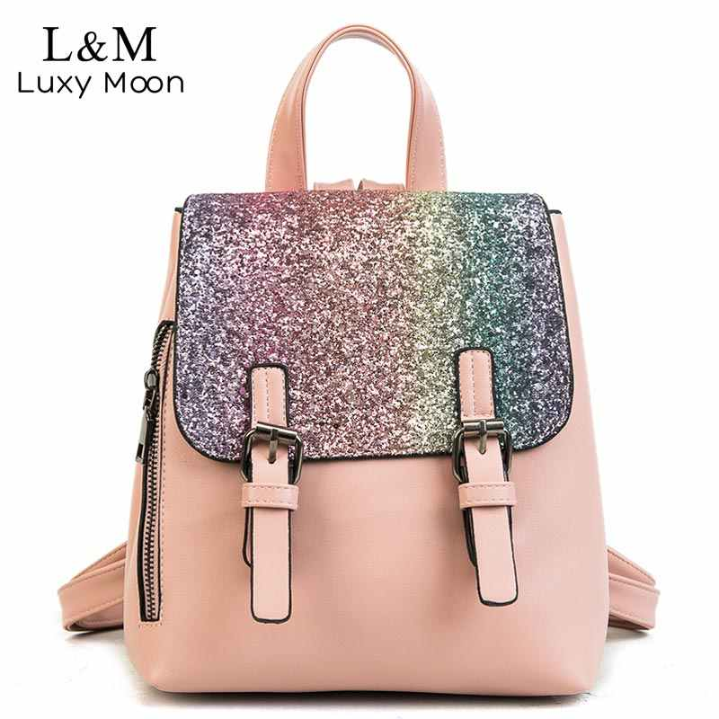 Luxy moon Glitter Backpack Women Sequins Backpacks Teenage Girls Bling  Fashion Sliver Gold 2018 Hot School 0454d289b676