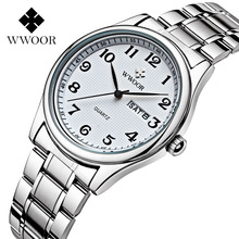 цены High Quality Brand WWOOR Quartz Watch Designer Men's Shockproof Waterproof Watch Business Men Calendar Vintage Retro Gift Boxes