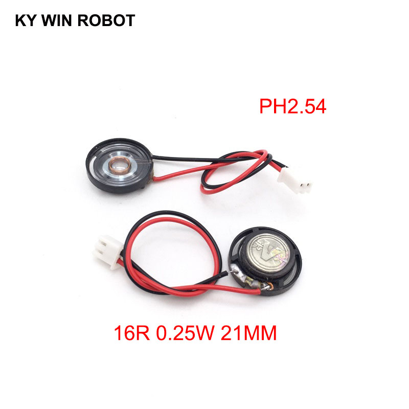 2pcs New Ultra-thin Toy-car Horn 16 Ohms 0.25 Watt 0.25W 16R Speaker Diameter 21MM 2.1CM With PH2.54 Terminal Wire Length 10CM