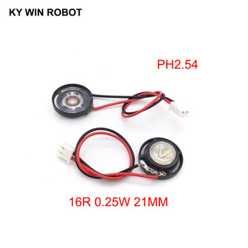 2pcs New Ultra-thin Toy-car horn 16 ohms 0.25 watt 0.25W 16R speaker Diameter 21MM 2.1CM with PH2.54 terminal wire length 10CM image