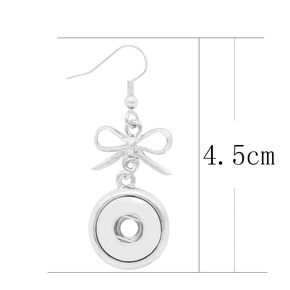 Partnerbeads Sliver color Bow shape Stud Earrings for Women Kids cute Earrings Jewelry 12mm Snaps Earings for women Gifts in Stud Earrings from Jewelry Accessories