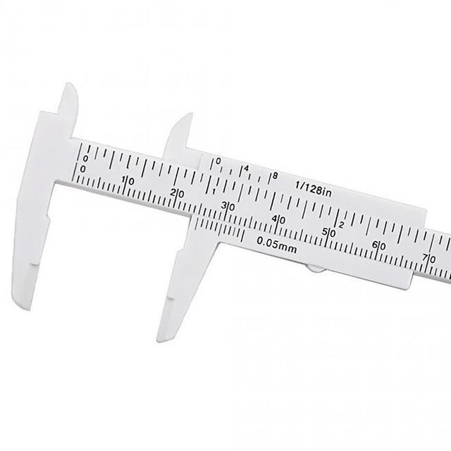 Pied à coulisse en plastique blanc à Double échelle 0-80mm avec Mini outil de mesure blanc pour étudiants/mesure Antique