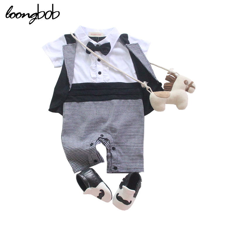 2017 New summer baby boys rompers short sleeve fashion suit baby clothing overall costume boys wearing black cute bow 991C