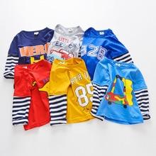 цены на 2019 spring autumn kids long sleeve T-shirt cute baby cotton clothing birthday party clothes for boys and girls children  в интернет-магазинах