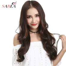 SARLA Long Curly U Part Half Wig Invisible Brown Synthetic 22