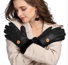 Touch Screen 2016 New Winter Women Genuine Leather Gloves Sheepskin Ladies Warm Mittens Thicken Bowknot Hand Warmer