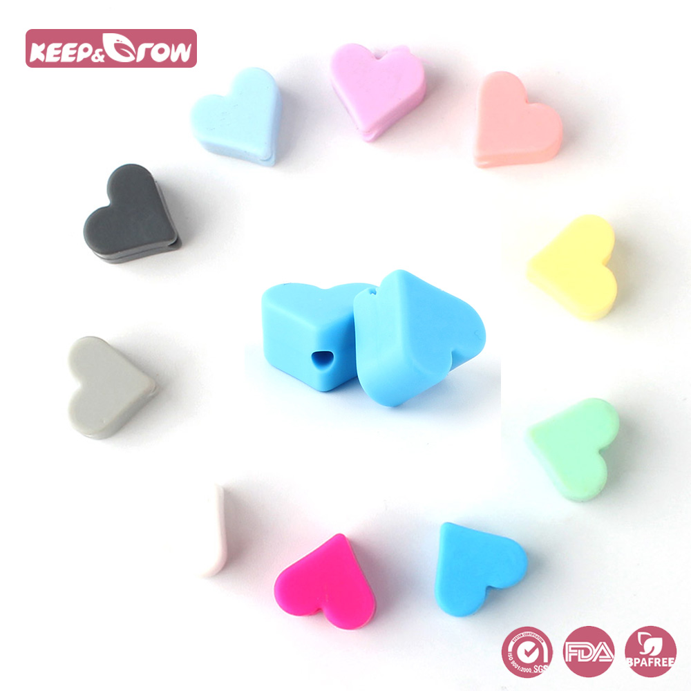 Keep&Grow 10pcs Heart Silicone Beads Baby Teething Beads Food Grade Silicone Teethers Baby Products DIY Pacifier Accessories