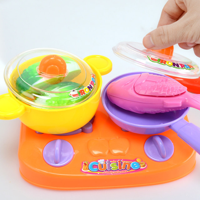 Kids Kitchen Toys Cut Vegetable Fruit S Pretend Play Cooking Plastic Food Playset Children Cart Set Trolley Basket