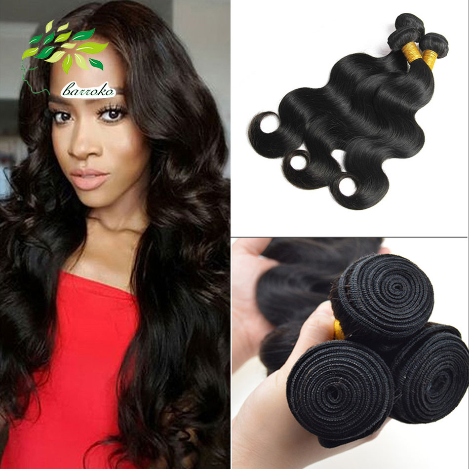 3Pcs/ lot 7A Malaysian Body Wave 100% Human virgin hair extensions wholesale body Weave ...