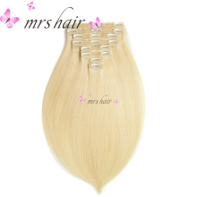"MRSHAIR 8pcs/Set Clip In Human Hair Extensions 18"" 20"" 22"" Full Head Brazilian Hair Clip In Hair Extensions Straight Blonde"