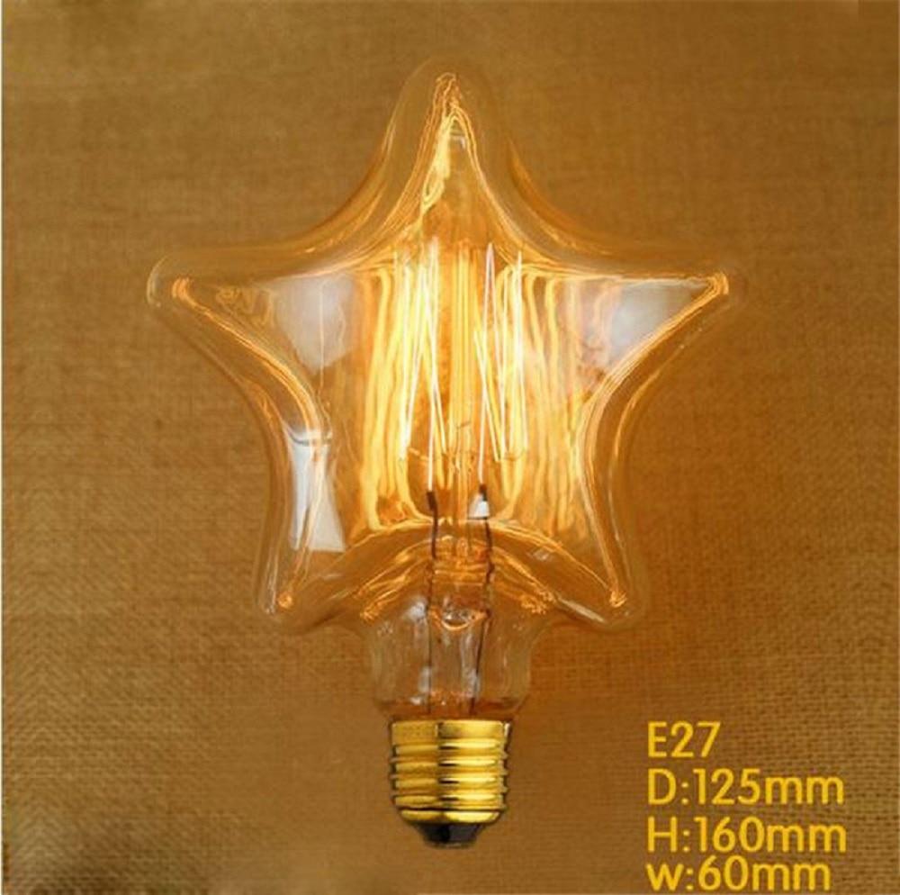 Edison Bulb Light Fixture E27 Vintage Filament Bulb Lampen 40W AC220V Incandescent Tungsten Filament Lamp Lampada for Home Decor