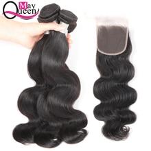 Kan koningin lichaam Wave haar bundels met sluiting 3 bundels natuurlijke zwarte kleur niet Remy Braziliaanse haarweefsel
