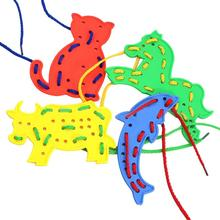 4pcs Animal Lacing Shapes Puzzles Rubber Plastic Cartoon Animals Toy Chidlren Thread Embroidery DIY Toys Gift
