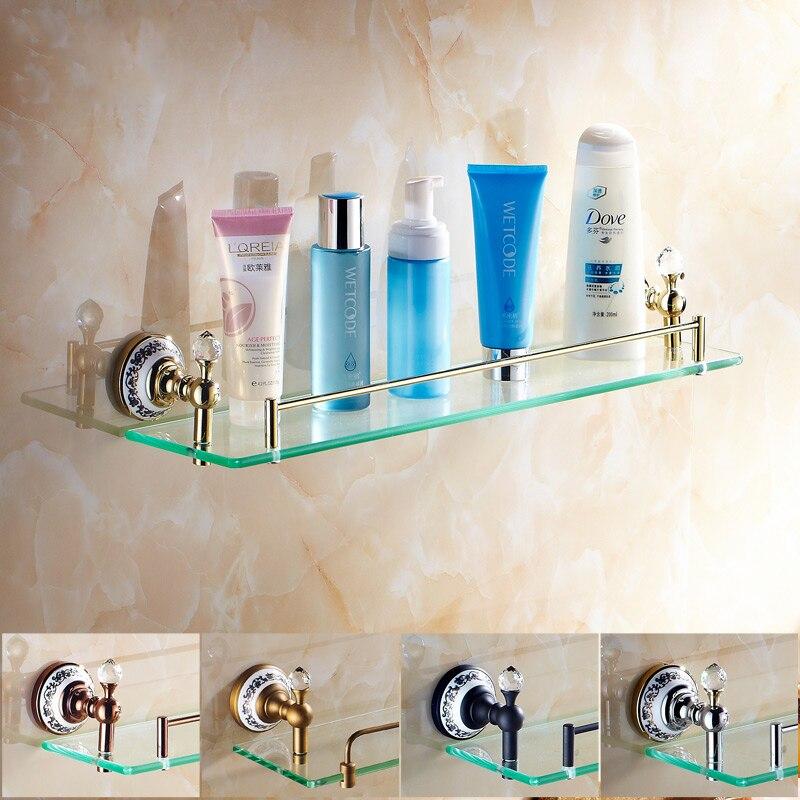 free accessori da bagno di trasporto crystal placcato oro rame singola mensola di vetro cosmetico