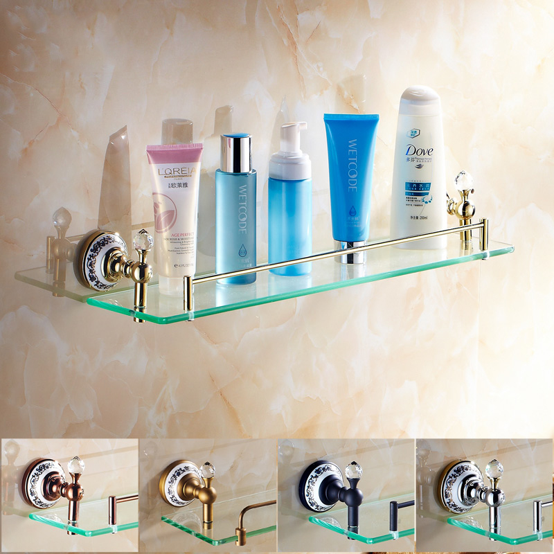 Free shipping Bathroom accessories Crystal & Copper Gold plated Single glass Cosmetic Shampoo Body Wash Shelves Bath shelf 6314 free shipping european style bathroom accessories luxurious antique bronze single glass shelf cosmetic rack wholesale 62011