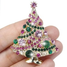 Bella Fashion 4 Colors Silver/Gold Tone Christmas Tree Rhinestone Brooch Pins Austrian Crystal Brooch For Women Christmas Gift