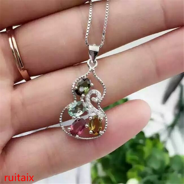 boutique jewels S925 silver rose tourmaline calabash female pendant jewelry natural gem delivers box chain parcel post