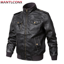 MANTLCONX Plus Size M-5XL Leather Jacket Mens Motorcycle Jackets Coats Stand Collar Multi-pocket Pu Coat for Men