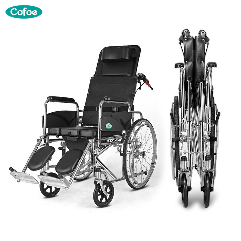 Cofoe Yishu Wheelchair with Pedestal Pan Full Back Rest Folding back Portable Galvanized steel Scooter for the Aged the Disabled portable cofoe yishu wheelchair full back rest folding galvanized steel scooter with pedestal pan for the aged 2018 newest