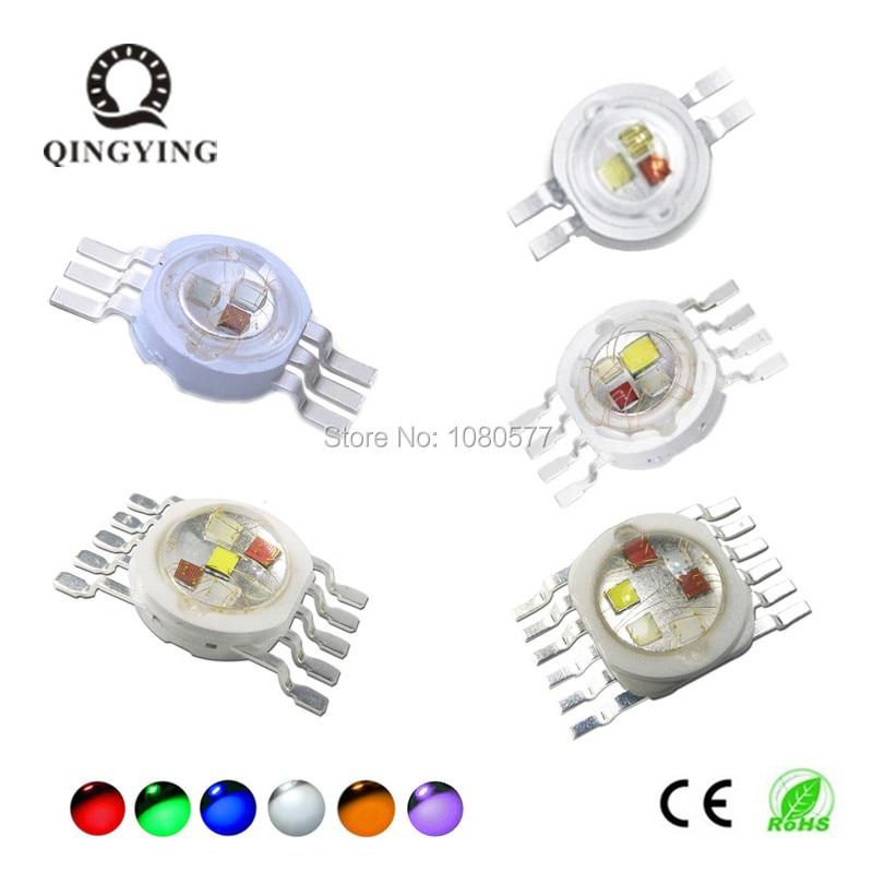 5PCS-50PCS High Power LED 3W 4W 15W 18W RGB RGBW RGBWY RGBWYV Colorful DIY Molding LED Stage Lights Source 4 6 8 10 12 Pin