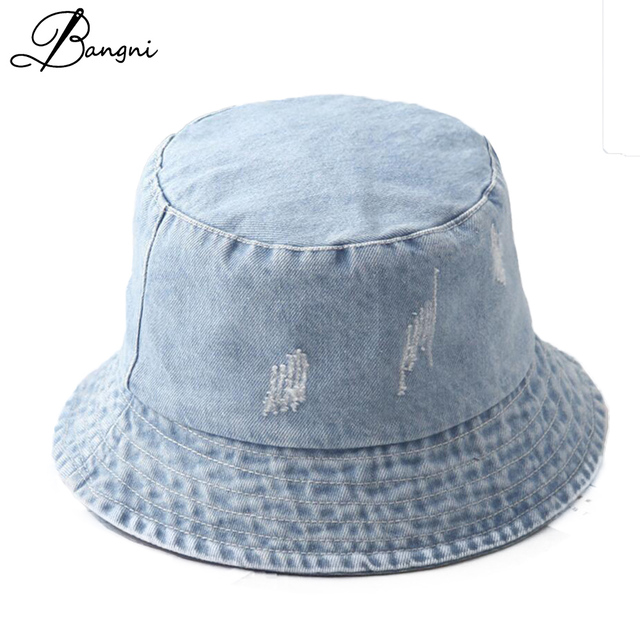 2017 Autumn New Denim Bucket Hat Fishing Hats Reversible Pescador For Men  Women Sun Protection Caps Hip Hop chapeu pescador 031b4d2807a