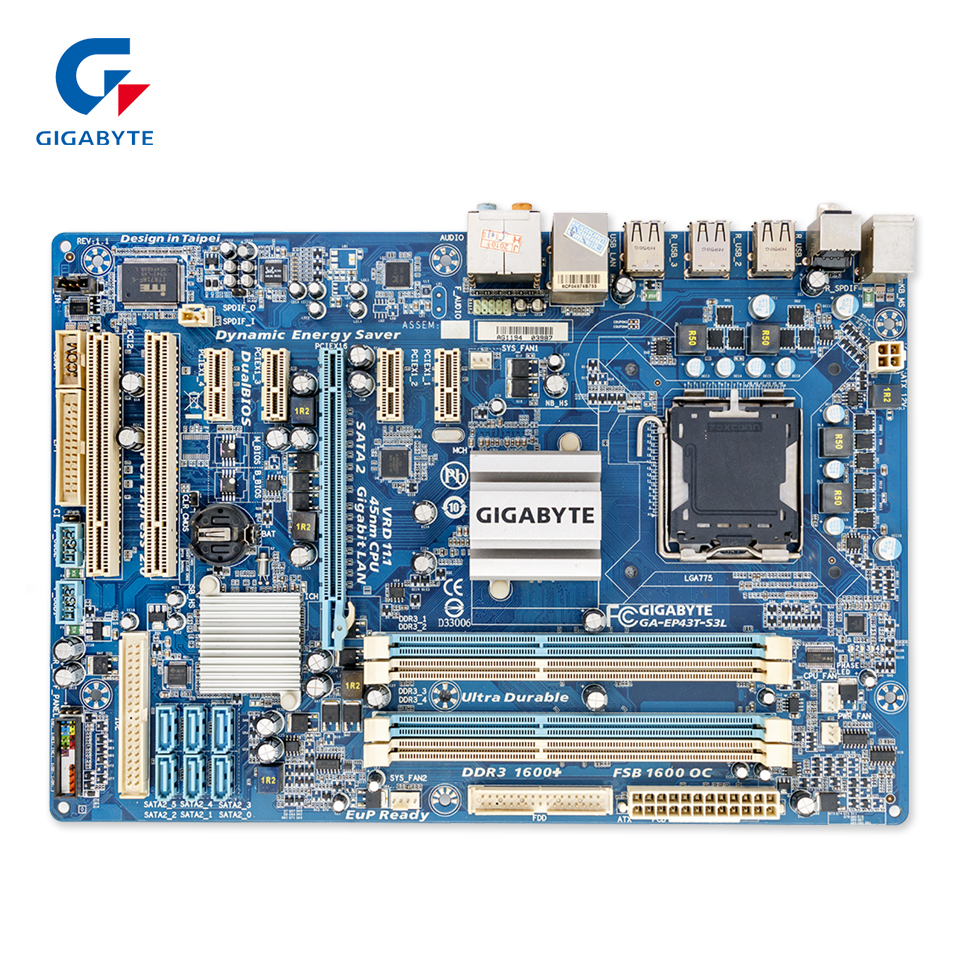 Gigabyte GA-EP43T-S3L Original Used Desktop Motherboard EP43T-S3L P43 Socket LGA 775 DDR3 ATX On Sale chief lcm1ub