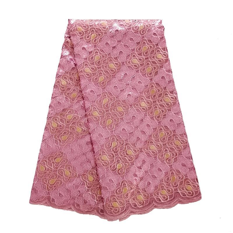 Tela de encaje de Organza francesa Rosa rubor 2019 bordado lentejuelas tela de encaje africano tela de encaje nigeriano de alta calidad para boda