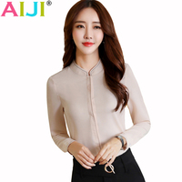 AIJI Summer Elegant Women Long Sleeve Shirt OL Career Stand Collar Chffon Blouse Tops Ladies Office
